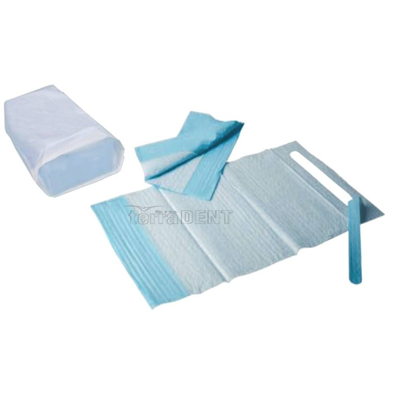 Śliniaki stomatologiczne z kieszonką 38x68cm niebieskie 100szt
