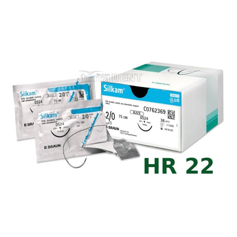 Nici chirurgiczne niewchłanialne SILKAM HR22 75cm 1szt